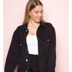 brandy melville black denim coat